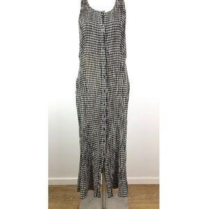 Eddie Bauer Gingham Sleeveless Long Pocket Dress